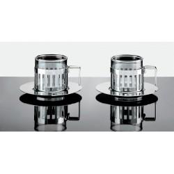 2 Tasses à espresso et sous tasses, ARDT SET- Alessi