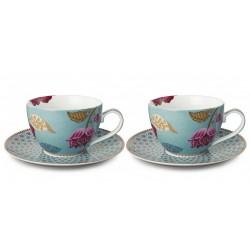 Coffret de 2 tasses à thé avec soucoupes Bleu FANTASY-PIP STUDIO