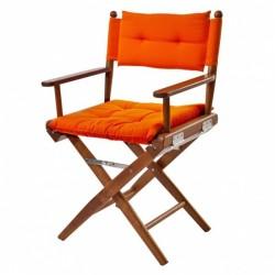 Chaise Tek pliante avec coussin d'assise/Azur Marine