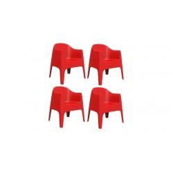 Set de 4 chaises d'extérieur avec accoudoirs - Collection SOLID-Vondom