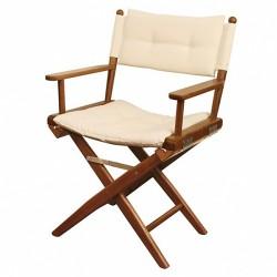 Chaise Teck pliante DELUXE avec coussin d'assise/Azur Marine