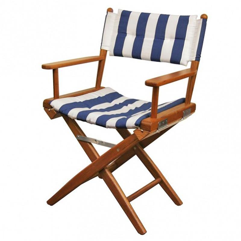 Chaise teck pliante deluxe avec coussin d 39 assise azur marine for Chaise en teck pliante