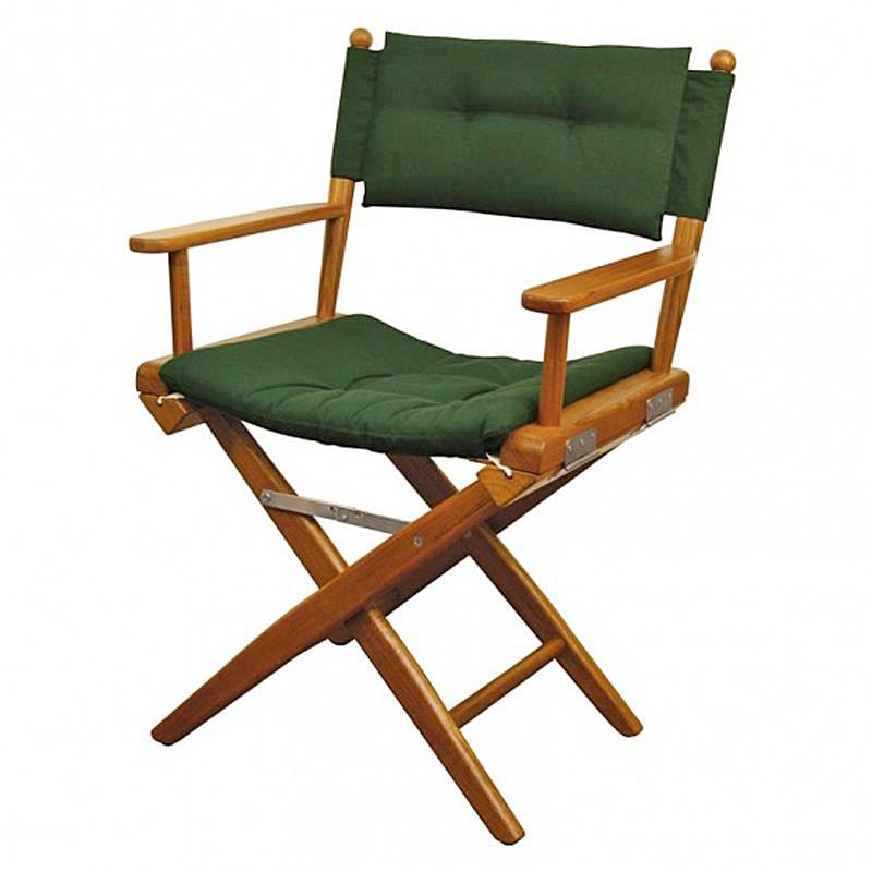 Chaise teck pliante deluxe avec coussin d 39 assise azur marine - Chaise pliante teck ...