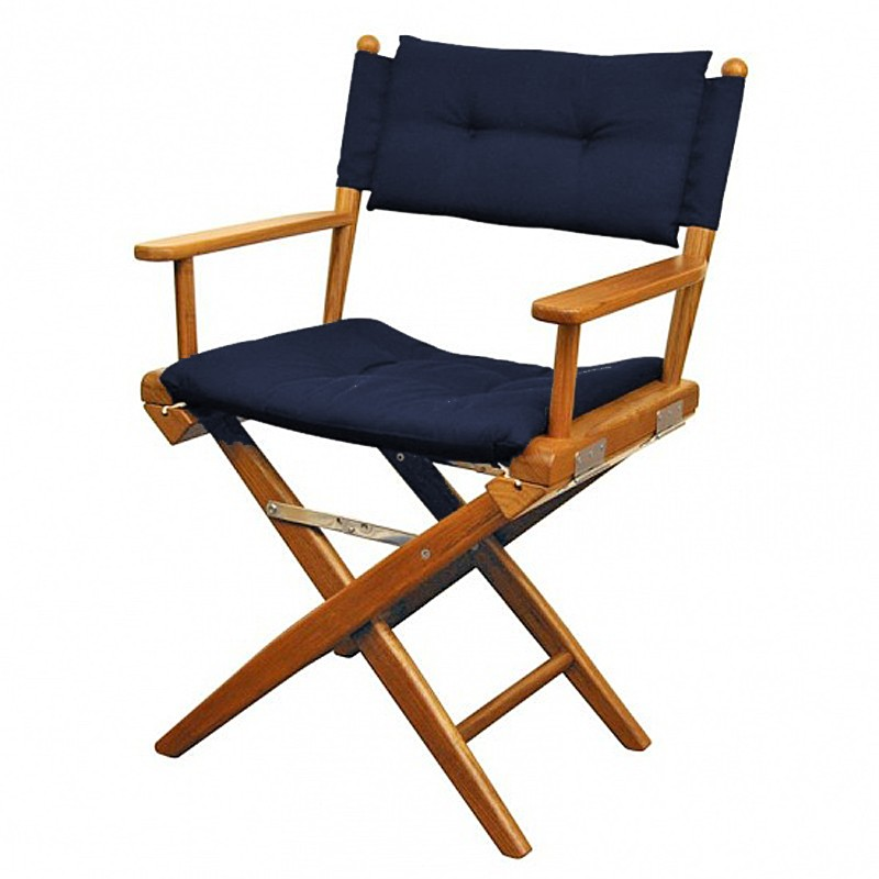 chaise teck pliante deluxe avec coussin d 39 assise azur marine. Black Bedroom Furniture Sets. Home Design Ideas