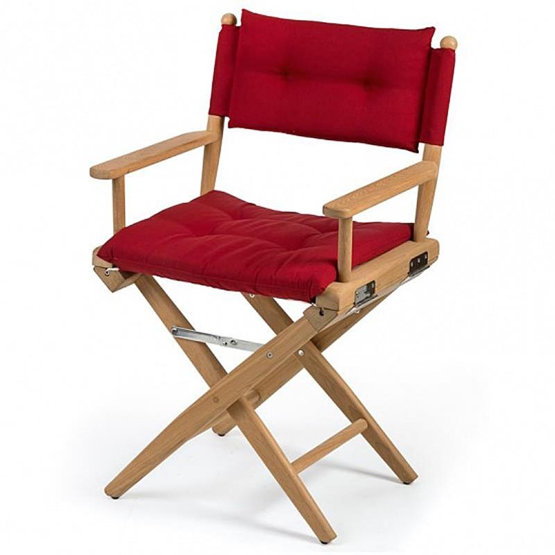 Chaise teck pliante deluxe avec coussin d 39 assise azur marine - Coussin pour chaise en teck ...