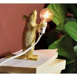 Lampe souris Gold-marque SELETTI-Souris droite dorée