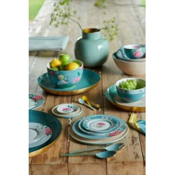 Assiette plate PIP Studio-26,5cm Blushing Birds bleue