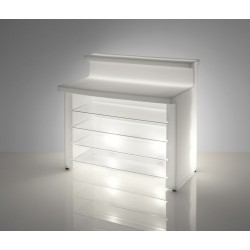 BAR LUMINEUX BREAK LINE avec étagères verre-Comptoir lumineux aménagé